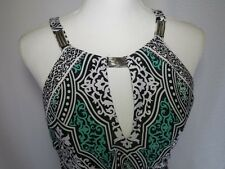 White House Black Market Maxi Halter Dress XS Green Black White Metal Embellish