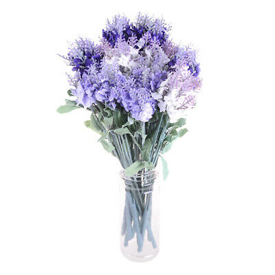 Artificial Bouquet Lavender 10 Heads Flower Fake Leaf Home Wedding Party Decor