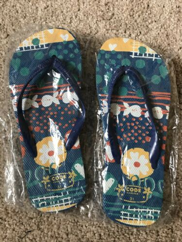 Flower Design Unisex Sizes 12-2.5 BNWOT Code Jeans Flip Flops Fish Blue