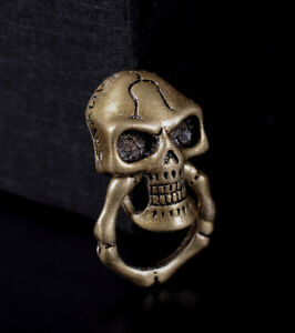 5X-Retro-Brass-Skull-Bone-Ring-Wallet-Chain-Connector-Leathercraft-Purse-Concho
