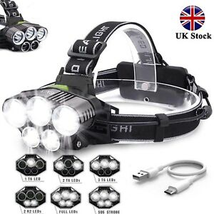 UK 90000LM 5X T6 LED Headlamp Rechargeable Headlight Light Flashlight Head Torch