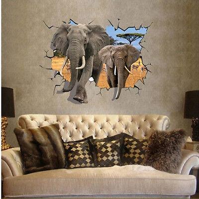 Realistic Elephant 3D Wall Sticker PVC Decal Kid Nursery Baby Decor Personalised