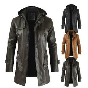 Mens PU Leather Punk Trench Coats Long Sleeve Motorcycle Biker Jackets Outwear