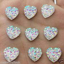 50pcs Crystal AB 12mm Flat Back Heart Sew On Resin Rhinestones Button Craft Gems