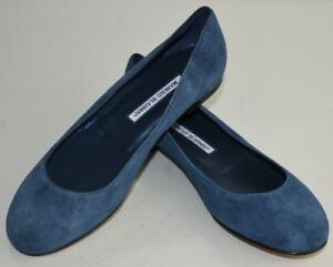New-Manolo-Blahnik-Flats-Suede-Blue-Round-Toe-Navy-Flat-Shoes-40