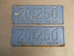 1934-TEXAS-COMMERCIAL-LICENSE-PLATES-ORIGINAL-FORD-CHEVY-GMC-34-HOT-STREET-ROD