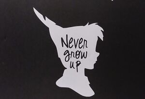 Never Grow Up Peter Pan Silhouette Vinyl Decal For Laptop Windows