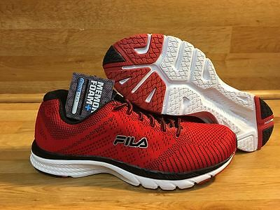 FILA MEMORY FOAM KNIT SNEAKER / RED - BLACK - WHITE / MENS SIZE