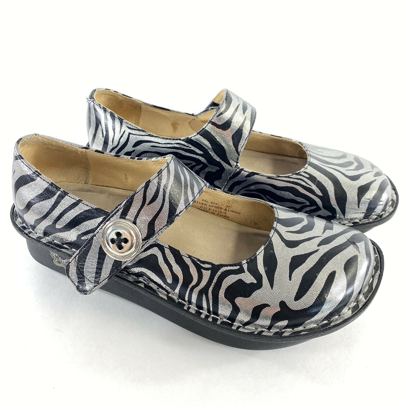 Alegria Shoe 37 US 7 Zebra Print Black Silver Metallic Leather Mary Jane comfort