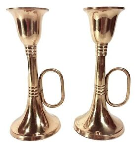 Brass-Horn-Candle-Holders-Pair-of-Vintage-5-5-034-Trumpet-Candlesticks-for-Tapers