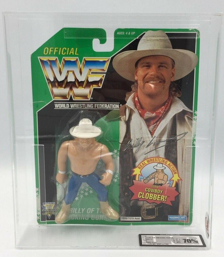 MEGA RARE GREEN CARD  WWF Hasbro BILLY SMOKING GUNS  5 BK UKG Graded 70%  1994