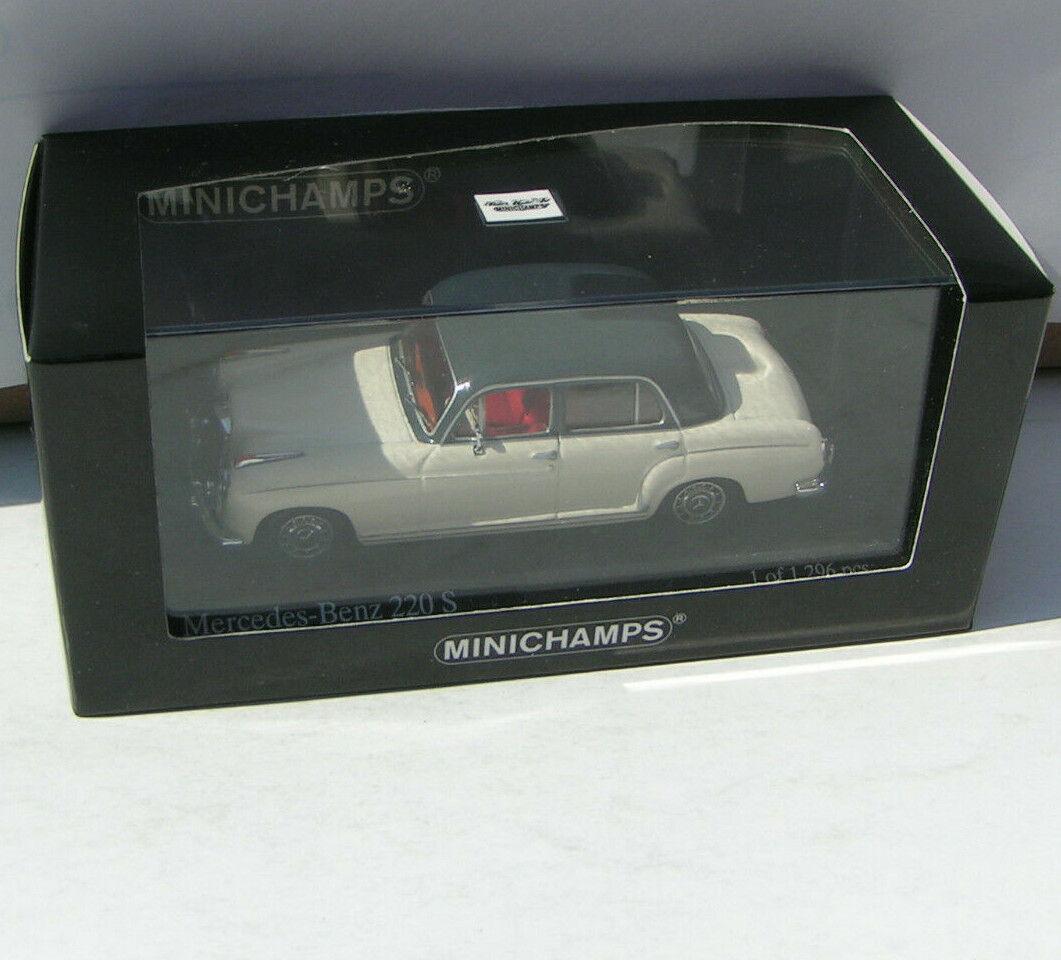 Mercedes-benz Ponton-W 180 220 S bianca dark grigio-Minichamps 1 43