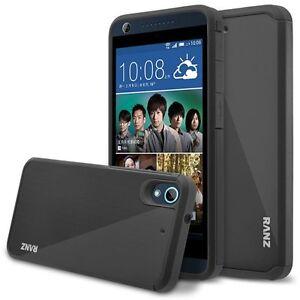 Para-HTC-Desire-626-626s-caso-Impact-Doble-Capa-Funda-A-Prueba-De-Golpes-Negro