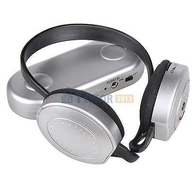 Hi-Fi Wireless Headphones FM Radio Receiver Headset with Transmitter Silver #3YE