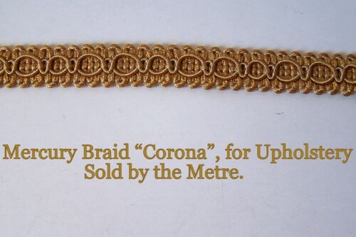 """sold by the Metre Gold Upholstery Braid /""""Mercury Corona/"""" 15 mm wide"""