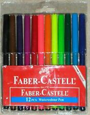 FABER-CASTELL ~ 12 PCS ~ WATERCOLOR PENS / MARKERS FOR ADULT COLORING ~ NEW PACK