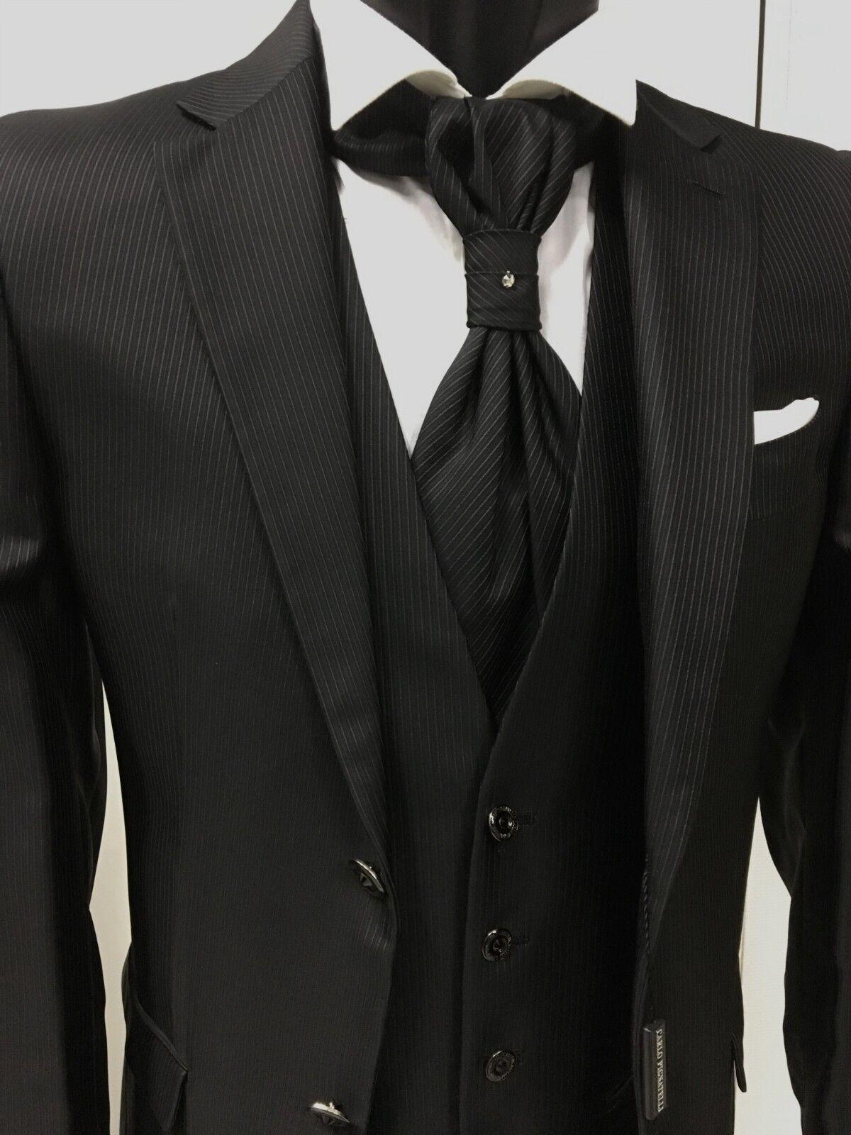 Kleidung Mann Bräutigam Schwarz Signiert Carlo Pignatelli Prunk Suit Wedding