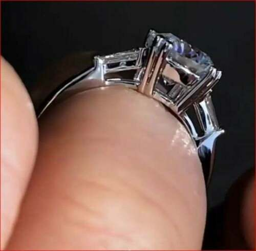 Details about  /1.20 Ct Round White Moissanite Three Stone Engagement Ring 14K White Gold Plated