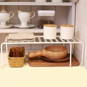 Details about Expandable Kitchen Counter Cabinet Countertop Shelf Organizer  Rack Storage Bowl