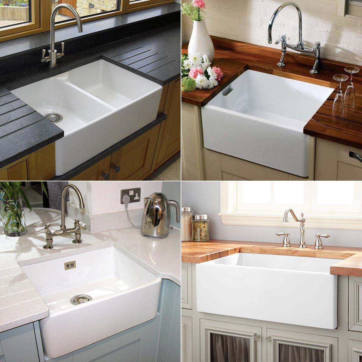 Rak Gloss White Farmhouse Belfast Butler Ceramic Kitchen Sink Tap Various Style Ebay
