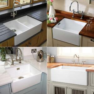 Image Is Loading Rak Gloss White Farmhouse Belfast Butler Ceramic Kitchen