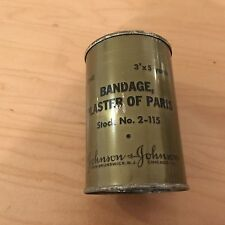 "ww2, 1945, bandage plaster of paris  can. 3""x5 yards,nos,johnson&johnson"