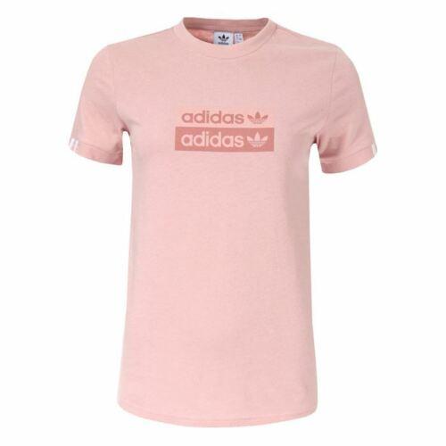 Women/'s adidas Originals Crew Neck Short Sleeve Cotton T-Shirt in Pink