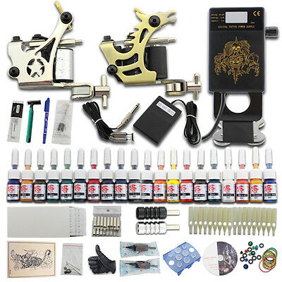 Tätowierung Tattoo Komplett Tattoomaschine Set Kit 20 Inks Farben Nadeln  DJ24