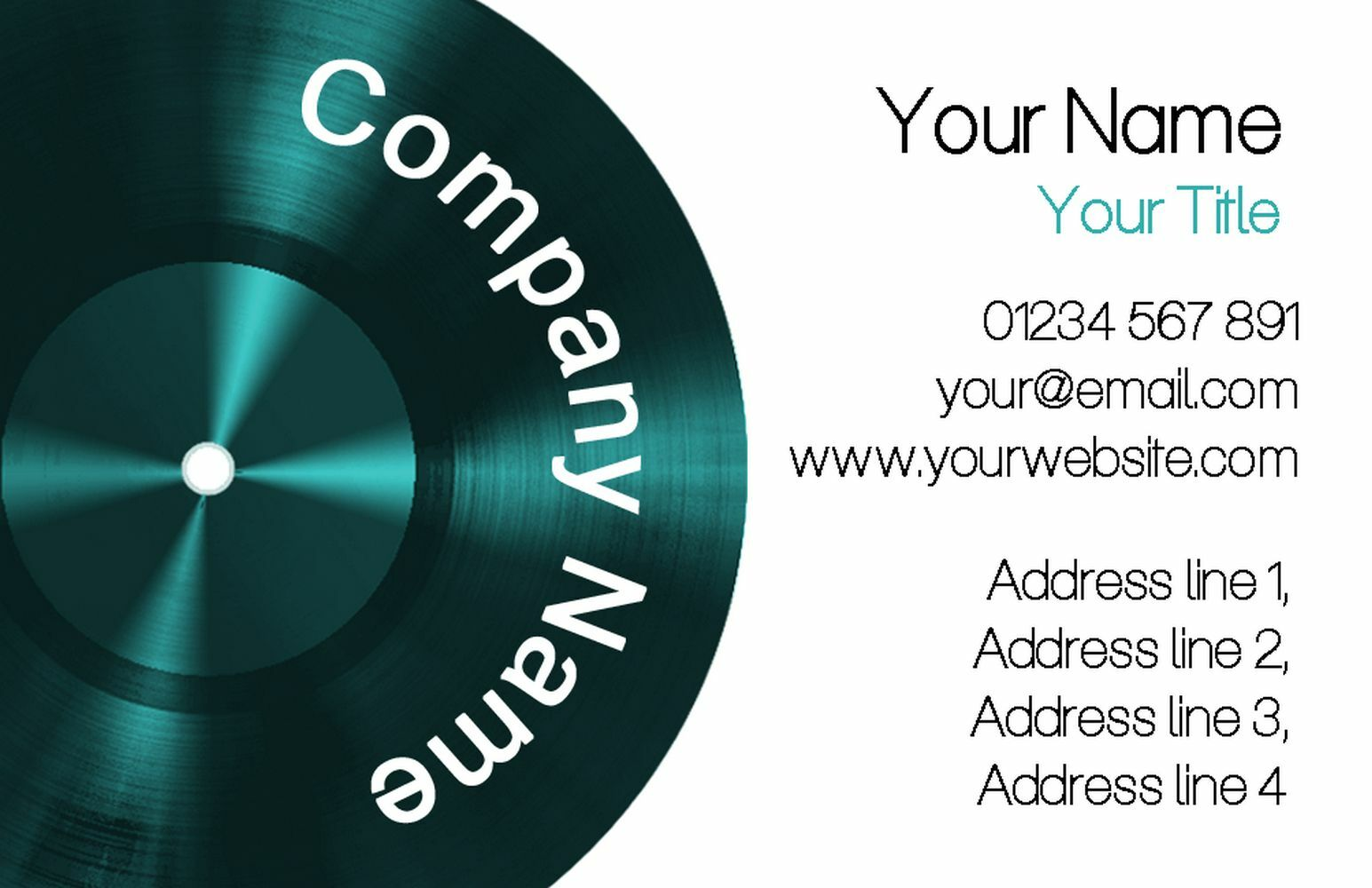 Grün Lp Music Record Personalised Business Cards