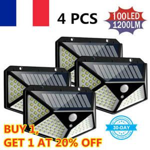4X-Lampada-Luce-Faretto-Faro-Esterno-Energia-Solare-100-LED-Sensore-Movimento
