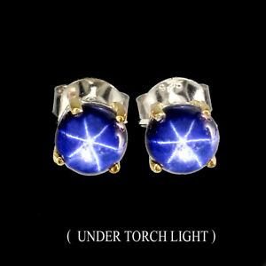Round-Cab-6mm-6-Rays-Blue-Star-Sapphire-Diffusion-925-Sterling-Silver-Earrings