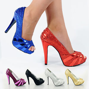 WOMENS-LADIES-HIGH-STILETTO-HEEL-GLITTER-PLATFORM-PEEP-TOE-PARTY-SHOES-SIZE-3-8