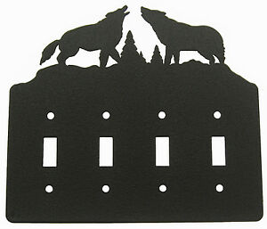 Wolf-Wolves-Quad-Switch-Cover-Plate-Black