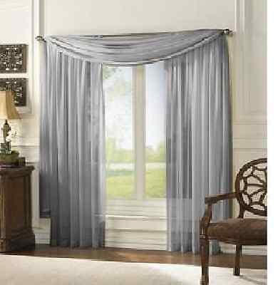 ONE PLAIN SOLID SHEER WINDOW CURTAIN TREATMENT DRAPES VOILE 52x84 L MANY COLORS