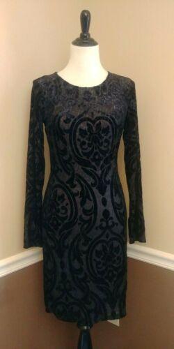 Black Burned Velvet Dress S Sexy Long Sleeve Sheat