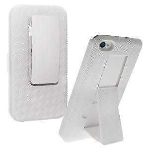 Apple-iPhone-4S-Snap-On-Shell-Holster-Combo-Case-Belt-Clip-amp-Kickstand-White