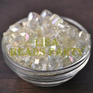 New-10pcs-10mm-Cube-Square-Faceted-Crystal-Glass-Loose-Spacer-Beads-Yellow