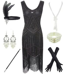 1920s-Gatsby-Sequin-Fringed-Paisley-Flapper-Dress-with-20s-Accessories-Set