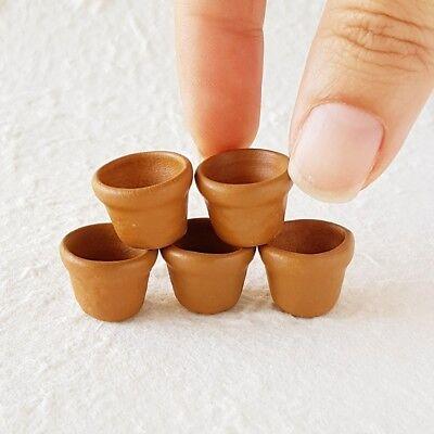 5 Stoneware Round Plant Pot Planter Dollhouse Miniatures Fairy Garden