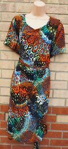 Koko-por-Koko-Multi-Color-Abstracto-Vestido-Cenido-Al-cuerpo-Manga-Corta-lado-con-cinturon-22-24