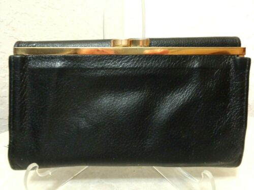 preowned St Dennis Women Wallet Black Leather Credit Cards Checkbook ID Change