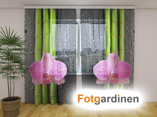 """Fotodruck auf Maß Fotogardinen aus Chiffon /""""Orchidee/"""" Vorhang mit Motiv"""