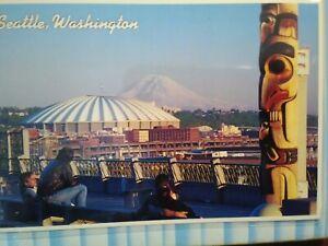 VINTAGE-PHOTO-POST-CARD-AERIAL-VIEW-KING-DOME-SEATTLE-MT-RAINIER-SEATTLE-WA