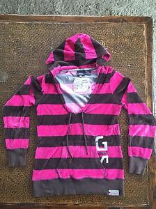 c42a51a870d G Star Raw Womens Velour Hoodie Brown Pink Stripe Small Sweat Shrit ...