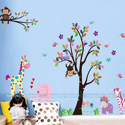 Cartoon Zoo Animals Removable Wall Sticker Decal Kids/Nursery Home Room Decor