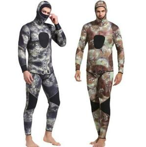 Men-Hooded-3mm-Neoprene-Spearfishing-Wetsuit-Two-Pieces-Underwater-Diving-Suits