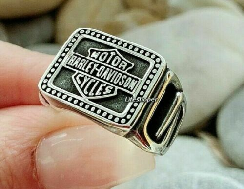 Harley Davidson Logo Biker Motorrad Luxus Ring aus 925er Sterlingsilber