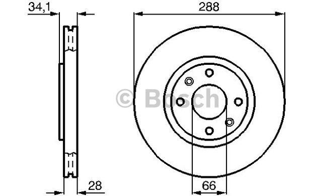 BOSCH Juego de 2 discos freno Antes 288mm ventilado CITROEN C5 0 986 478 980