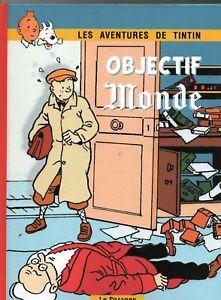 PASTICHE-Tintin-OBJECTIF-MONDE-de-Savard-Album-cartonne-n-amp-bl-et-couleurs
