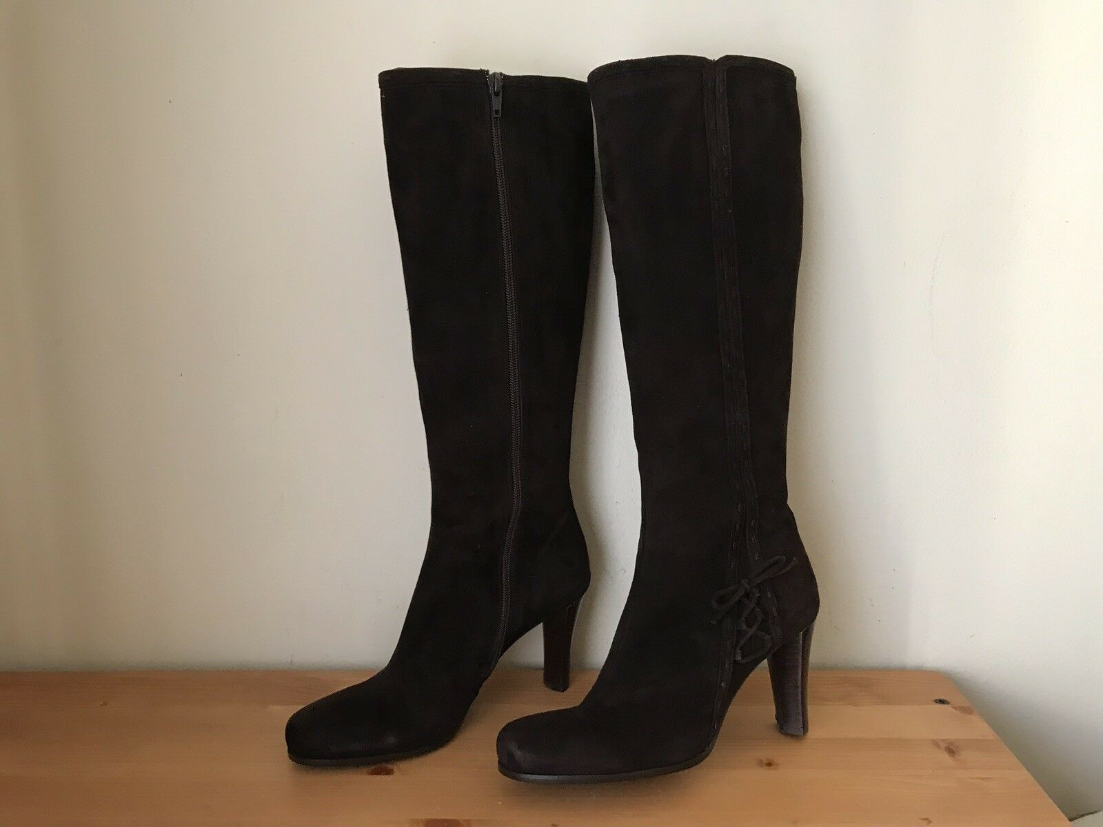 New Mine de Rien Womens dark brown suede tall boots shoes sz 38 7.5 Spain